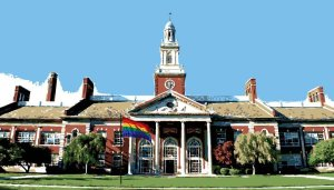 Artistic rendering of Grosse Pointe South.  There is, of course, no rainbow flag on the front lawn.