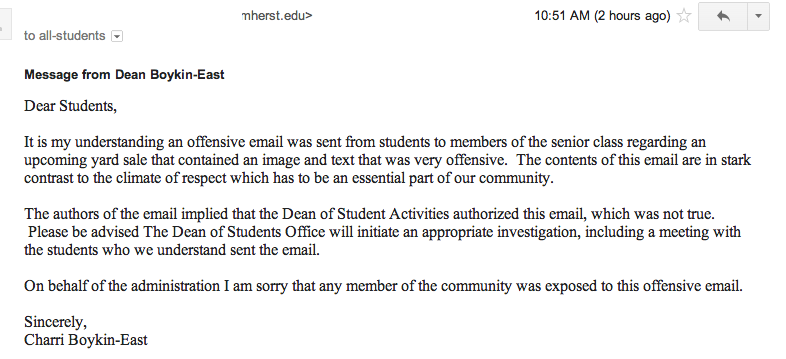 An email from Interim Dean of Students Charri Boykin-East, sent in response to the sexist ad.