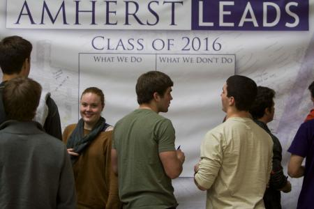 A photo from the Amherst LEADS website. Amherst Leads seems to be not only an opportunity for leadership development for student athletes, but also a way to build community.