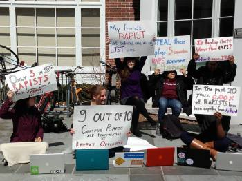 After data released by the College showed that stealing laptops and iPods led to more severe punishment than committing sexual assault, students protested outside of Valentine to demand harsher sanctions. Of course, now there is no way to know if the College listened, since it refuses to release data on sanctions for Honor Code violations. (Photo Courtesy of Dana Bolger)