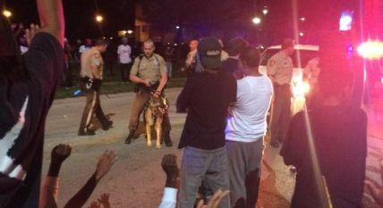 Police response to protestors.