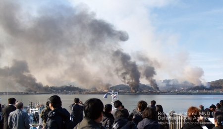 Image from the Yeonpyeong shelling, which was the last major skirmish between the two Koreas