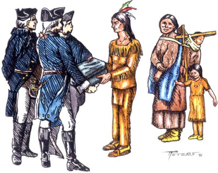 Drawing by Terry R.  Peters, Image courtesy of Peter d'Errico, http://www.nativeweb.org/pages/legal/amherst/lord_jeff.html