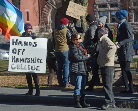 A pro-Hampshire protest on the Amherst Commons on Sunday.